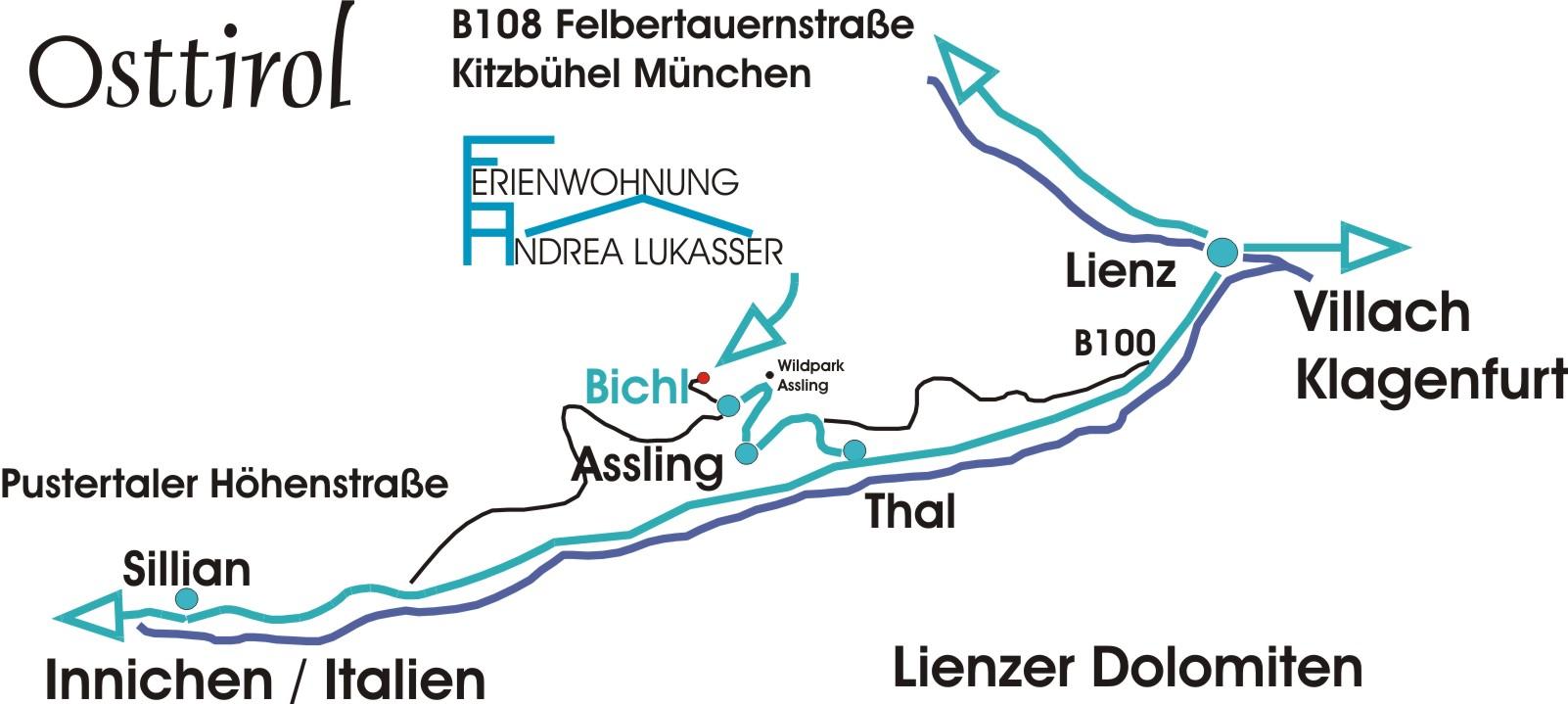 Anreise Ferienwohnung Andrea Lukasser Assling Bichl